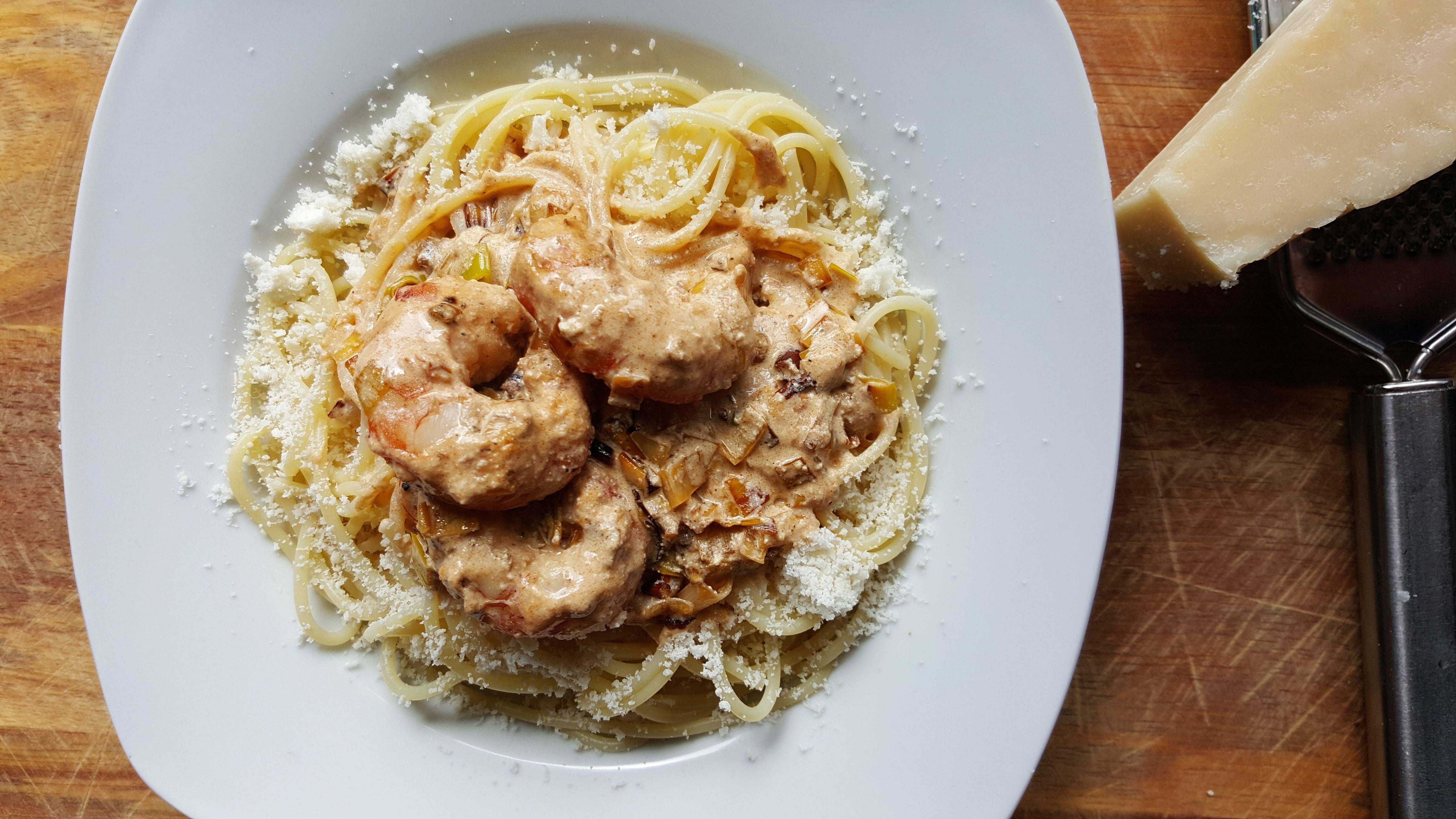 Spaguetti con gambas