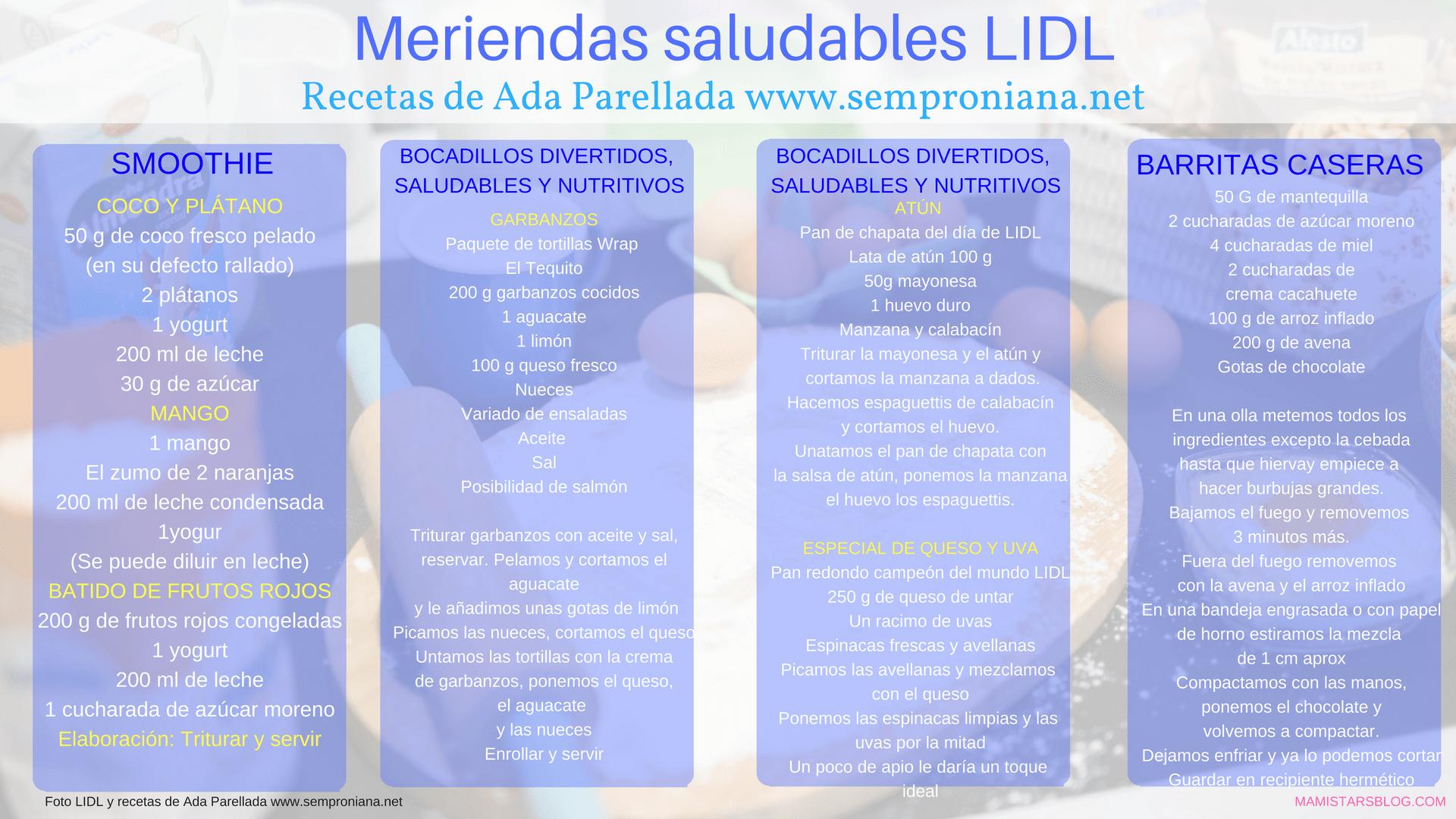 Meriendas saludables LIDL y Ada Parellada