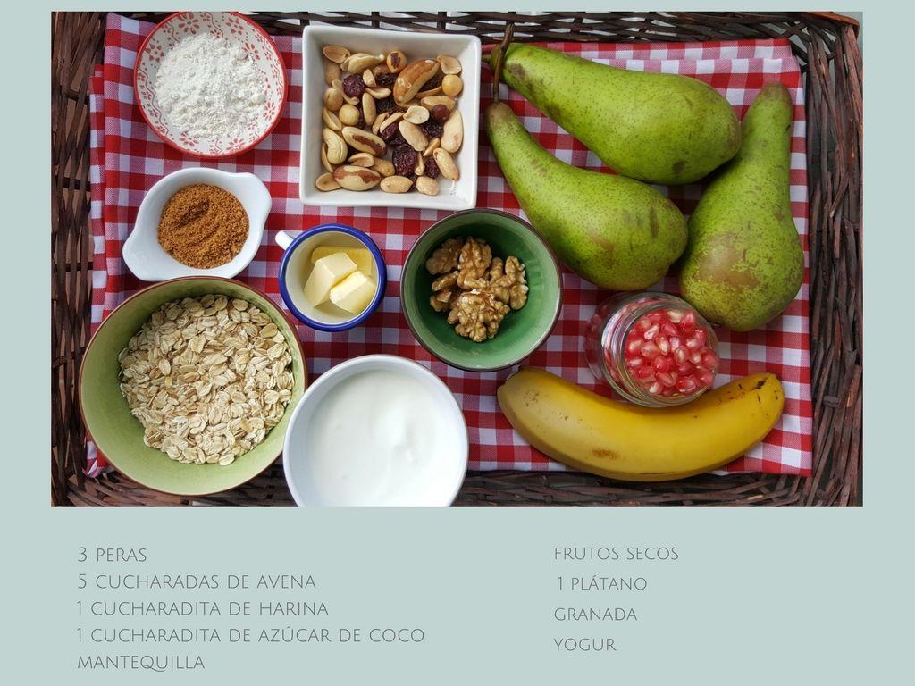 Crumble de peras y avena receta fácil al microondas