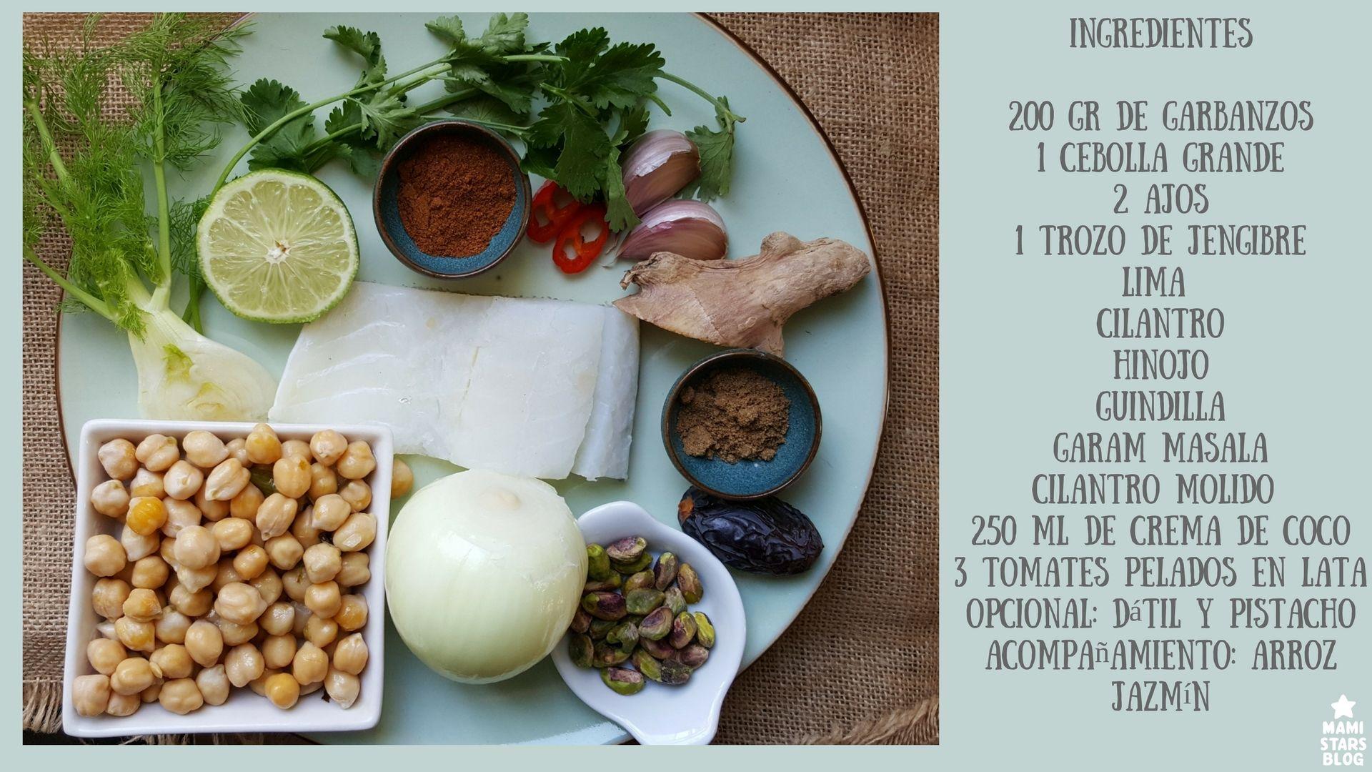 Receta Tajine de Garbanzos y bacalao al garam masala