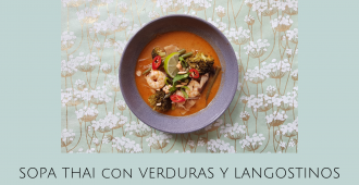 Receta Sopa Thai con verduras y langostinos