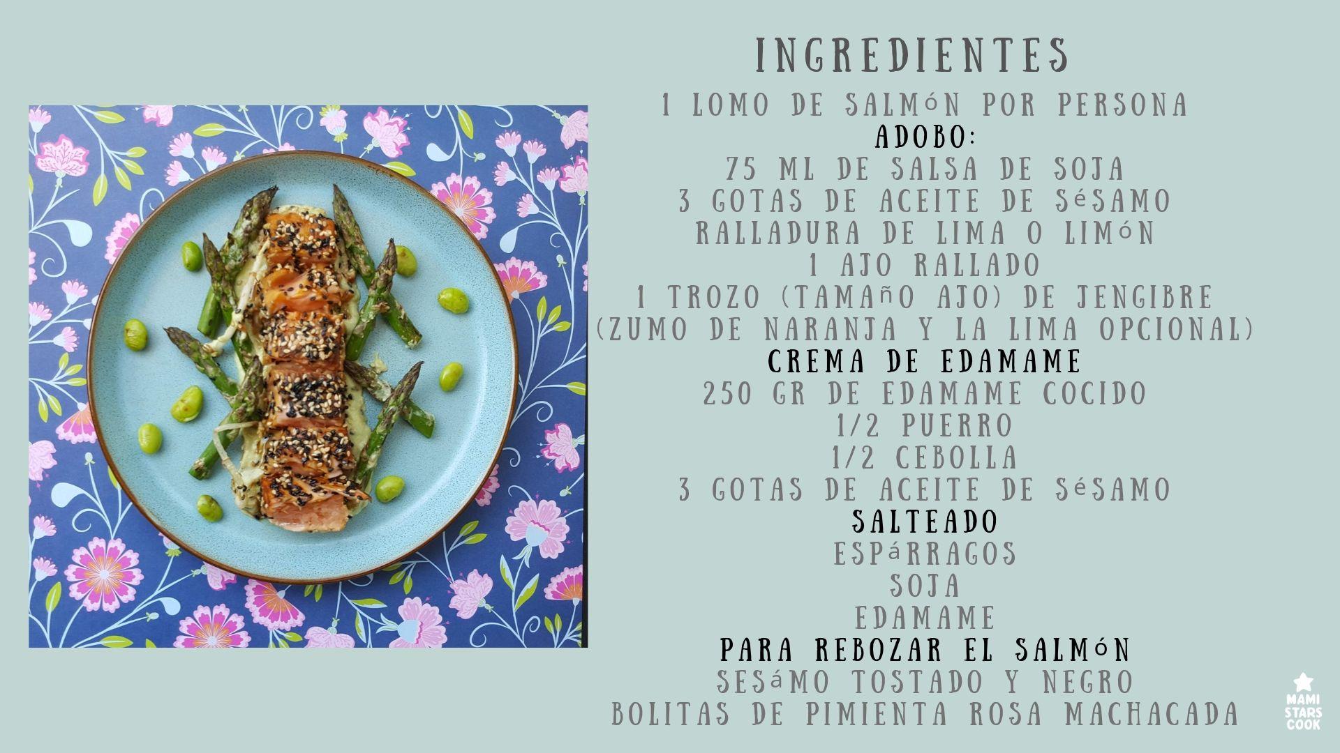 Ingredientes del tataki de salmón con crema de edamame