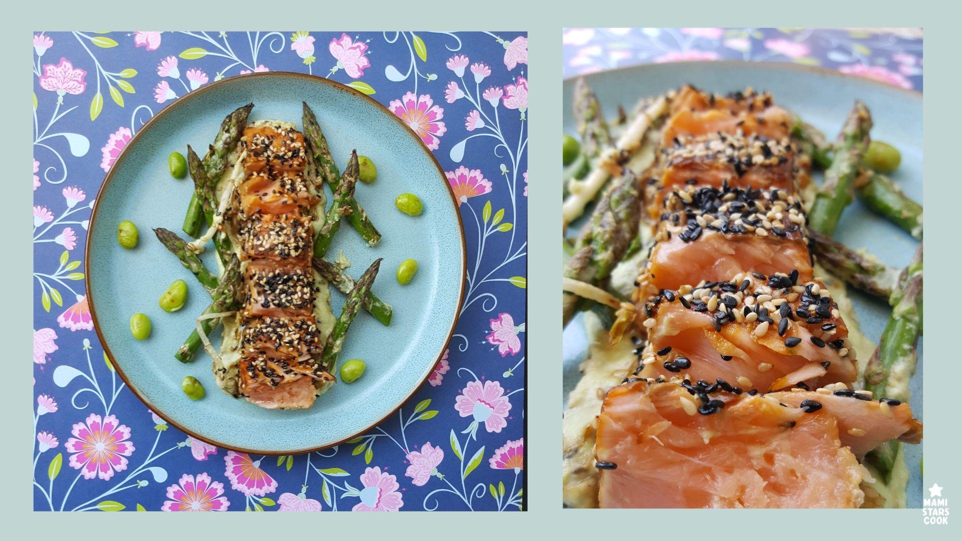 Tataki de salmon y crema de edamame