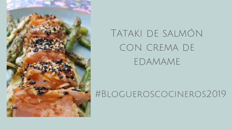 Tataki de salmón con crema de edamame