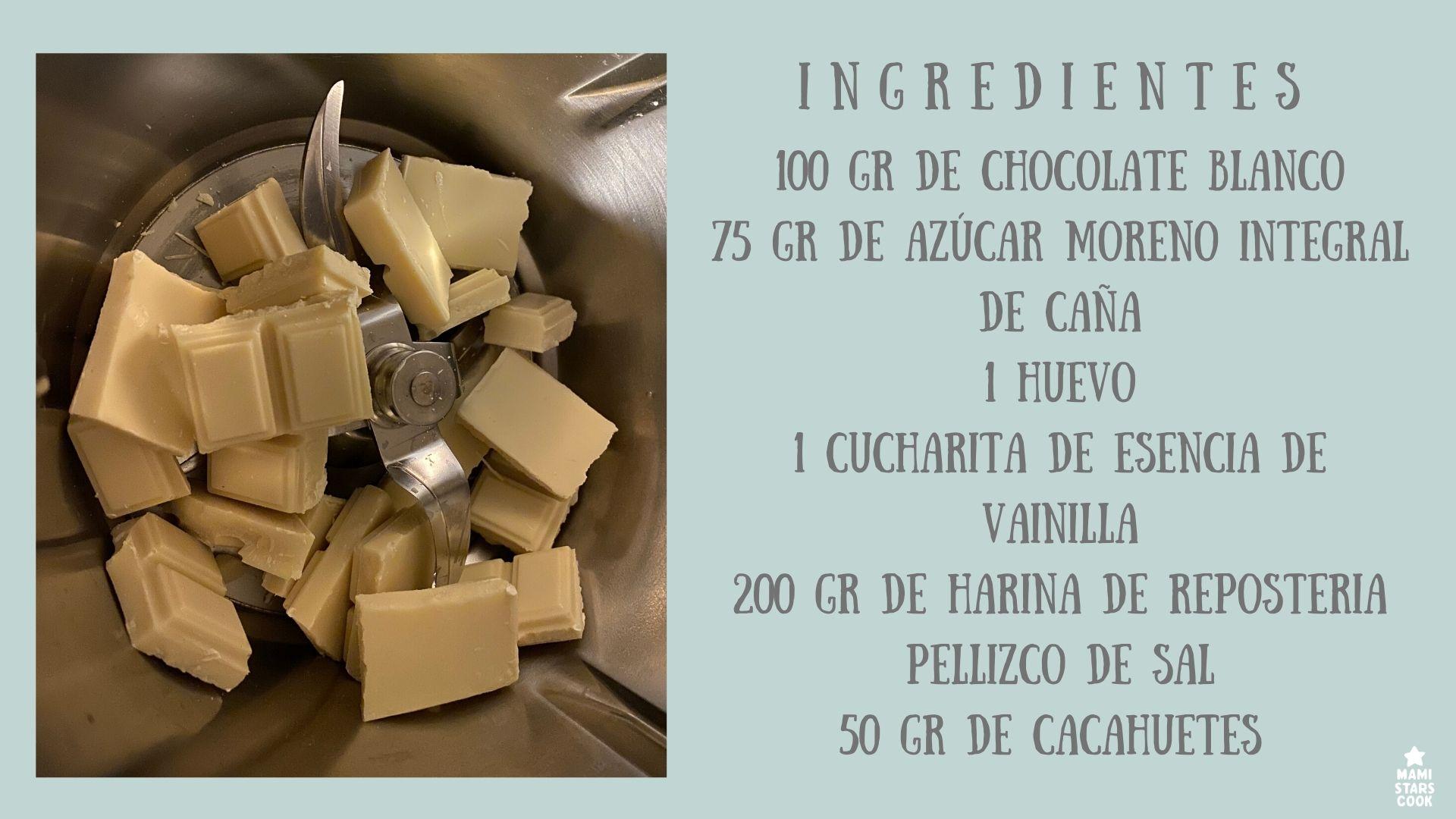 COOKIES DE CHOCOLATE BLANCO Y CACAHUETE