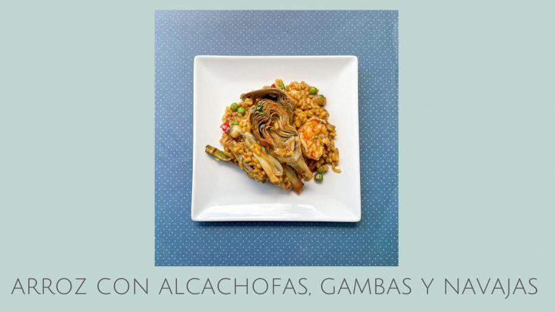 Arroz con alcachofas, gambas y navajas