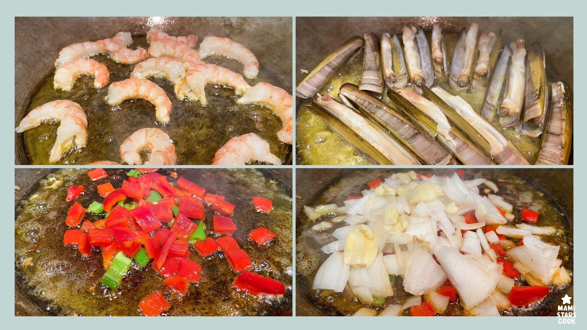 Receta de arroz con alcachofas, gambas y navajas